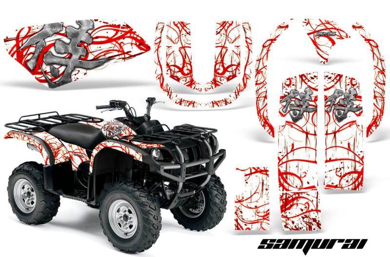Yamaha grizzly 660 creatorx graphics kit samurai red white for Yamaha grizzly 660 tracks