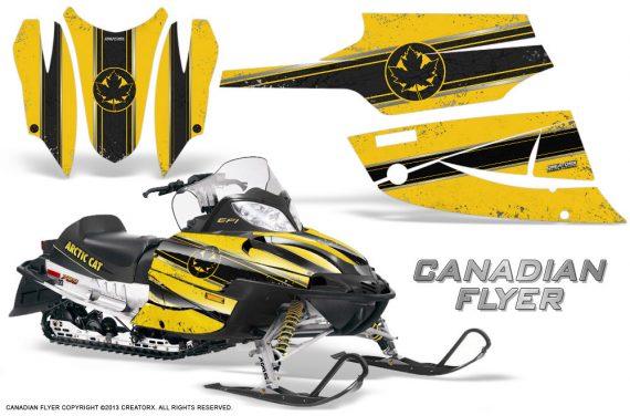 Arctic Cat Firecat CreatorX Graphics Kit Canadian Flyer Black Yellow 570x376 - Arctic Cat Firecat Sabercat F5 F6 F7 2003-2006 Graphics