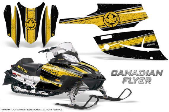 Arctic Cat Firecat CreatorX Graphics Kit Canadian Flyer Yellow Black 570x376 - Arctic Cat Firecat Sabercat F5 F6 F7 2003-2006 Graphics