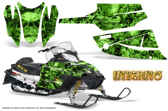 Arctic Cat Firecat CreatorX Graphics Kit Inferno Green 570x376 - Arctic Cat Firecat Sabercat F5 F6 F7 2003-2006 Graphics