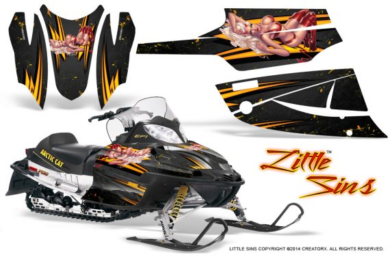 Arctic Cat Firecat CreatorX Graphics Kit Little Sins Black 570x376 - Arctic Cat Firecat Sabercat F5 F6 F7 2003-2006 Graphics