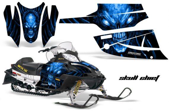 Arctic Cat Firecat CreatorX Graphics Kit Skull Chief Blue Black 570x376 - Arctic Cat Firecat Sabercat F5 F6 F7 2003-2006 Graphics