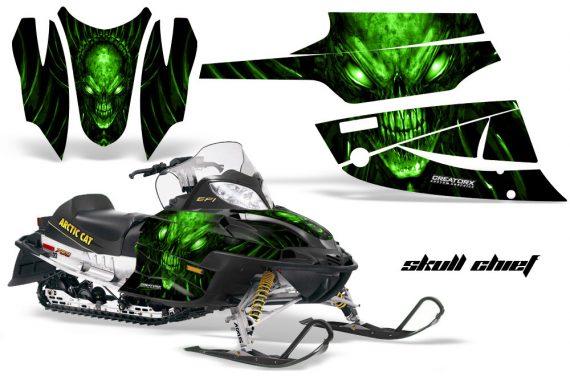 Arctic Cat Firecat CreatorX Graphics Kit Skull Chief Green Black 570x376 - Arctic Cat Firecat Sabercat F5 F6 F7 2003-2006 Graphics