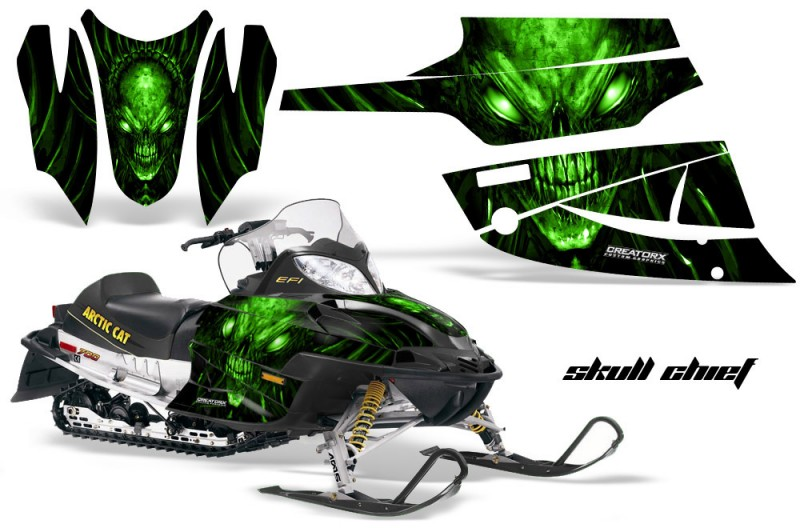 Arctic-Cat-Firecat-CreatorX-Graphics-Kit-Skull-Chief-Green-Black