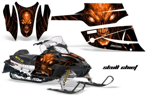 Arctic Cat Firecat CreatorX Graphics Kit Skull Chief Orange Black 570x376 - Arctic Cat Firecat Sabercat F5 F6 F7 2003-2006 Graphics