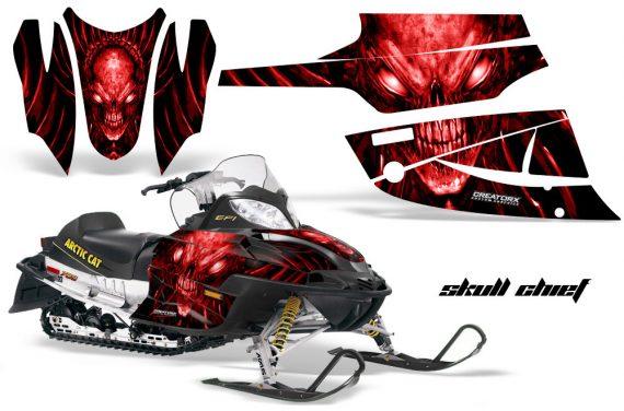 Arctic Cat Firecat CreatorX Graphics Kit Skull Chief Red Black 570x376 - Arctic Cat Firecat Sabercat F5 F6 F7 2003-2006 Graphics