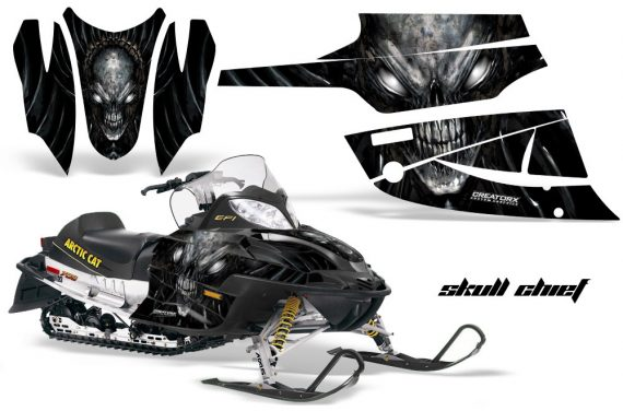 Arctic Cat Firecat CreatorX Graphics Kit Skull Chief Silver Black 570x376 - Arctic Cat Firecat Sabercat F5 F6 F7 2003-2006 Graphics