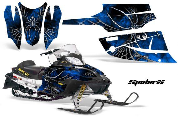 Arctic Cat Firecat CreatorX Graphics Kit SpiderX Blue Black 570x376 - Arctic Cat Firecat Sabercat F5 F6 F7 2003-2006 Graphics