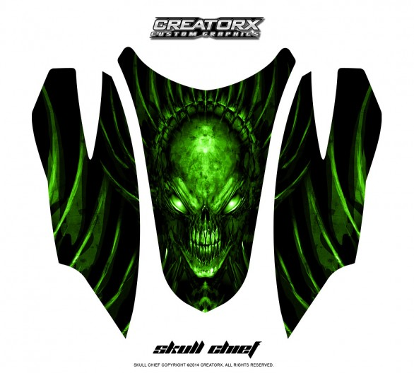 Arctic-Cat-Firecat-Hood-CreatorX-Graphics-Kit-Skull-Chief-Green