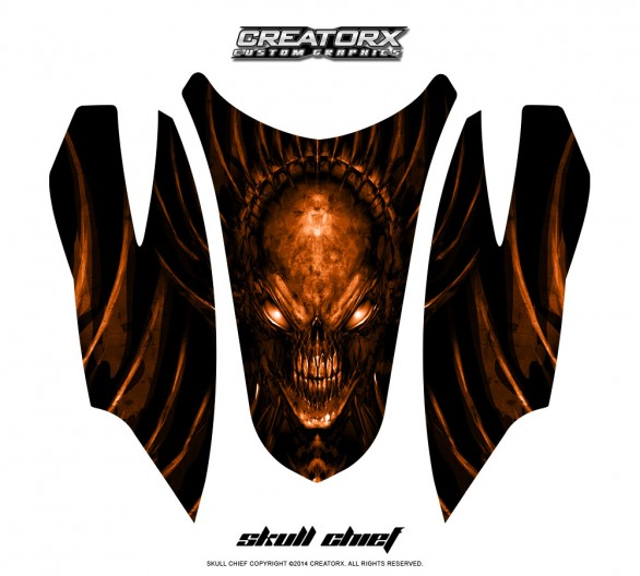 Arctic-Cat-Firecat-Hood-CreatorX-Graphics-Kit-Skull-Chief-Orange