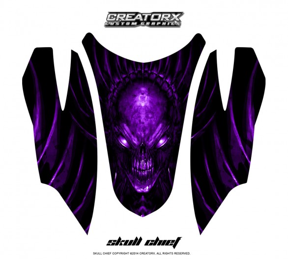 Arctic-Cat-Firecat-Hood-CreatorX-Graphics-Kit-Skull-Chief-Purple