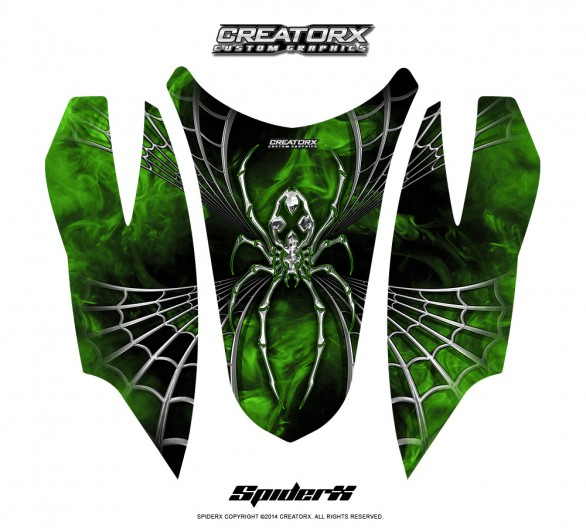 Arctic-Cat-Firecat-Hood-CreatorX-Graphics-Kit-SpiderX-Green