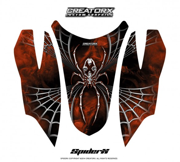Arctic-Cat-Firecat-Hood-CreatorX-Graphics-Kit-SpiderX-Orange-Dark