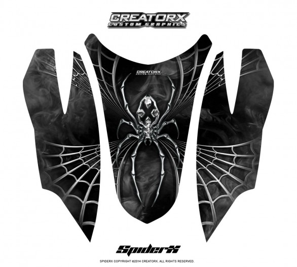Arctic-Cat-Firecat-Hood-CreatorX-Graphics-Kit-SpiderX-Silver