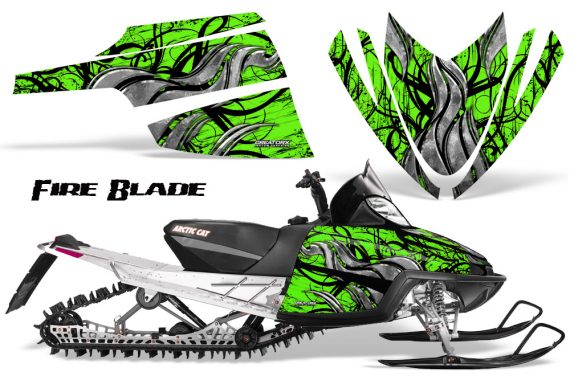 Arctic Cat M Series CrossFire CreatorX Graphics Kit Fire Blade Black Green 570x376 - Arctic Cat M Series Crossfire Graphics