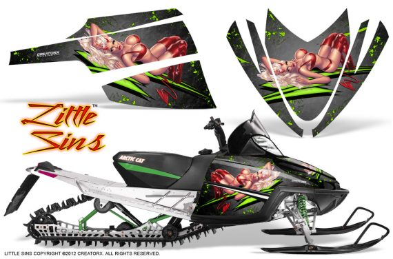 Arctic Cat M Series CrossFire CreatorX Graphics Kit Little Sins Green Silver 570x376 - Arctic Cat M Series Crossfire Graphics
