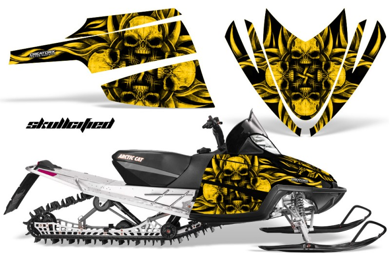 Arctic-Cat-M-Series-CrossFire-CreatorX-Graphics-Kit-Skullcified-Flat-Yellow