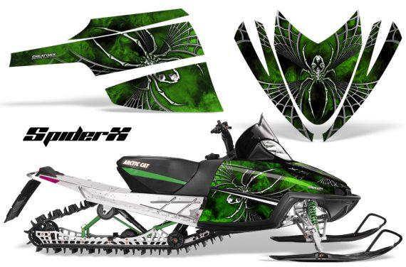 Arctic Cat M Series CrossFire CreatorX Graphics Kit SpiderX Green 570x376 - Arctic Cat M Series Crossfire Graphics