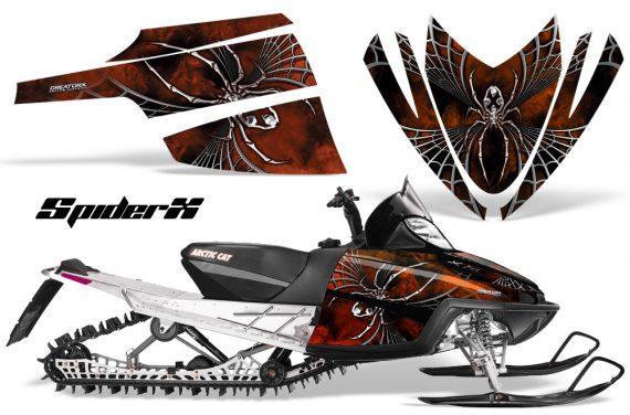 Arctic Cat M Series CrossFire CreatorX Graphics Kit SpiderX Orange Dark 570x376 - Arctic Cat M Series Crossfire Graphics