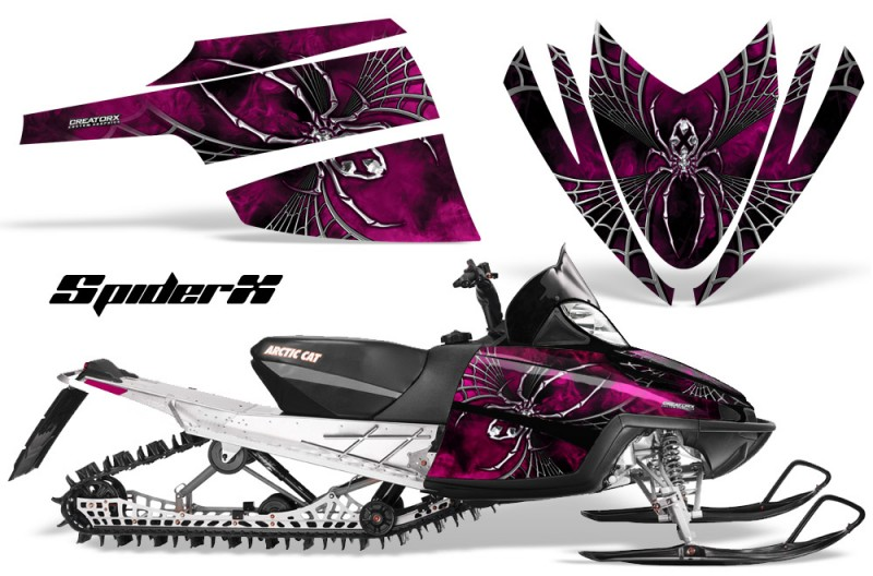 Arctic-Cat-M-Series-CrossFire-CreatorX-Graphics-Kit-SpiderX-Pink