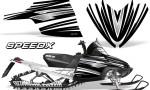 Arctic Cat M Series CrossFire Graphics Kit SpeedX White Black 150x90 - Arctic Cat M Series Crossfire Graphics