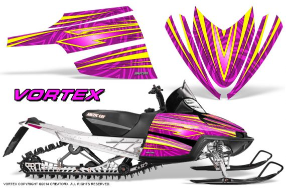 Arctic-Cat-M-Series-CrossFire-Graphics-Kit-Vortex-Yellow-Pink