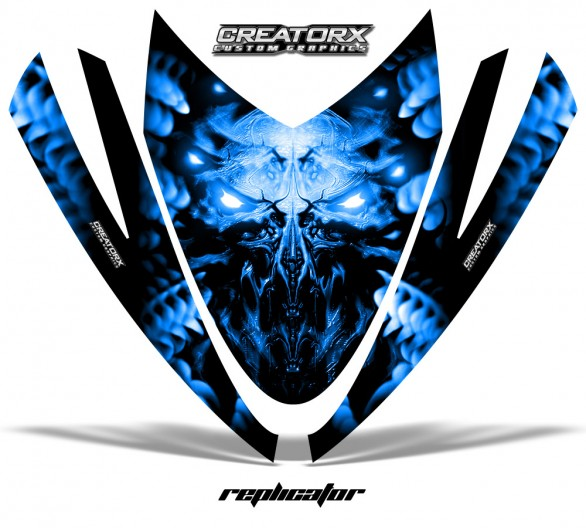 Arctic-Cat-M-Series-Crossfire-Hood-CreatorX-Graphics-Kit-Alien-Replicator-Blue