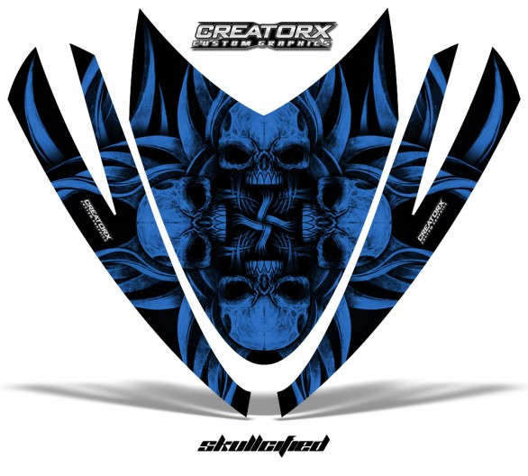 Arctic-Cat-M-Series-Crossfire-Hood-CreatorX-Graphics-Kit-Skullcified-Flat-Blue