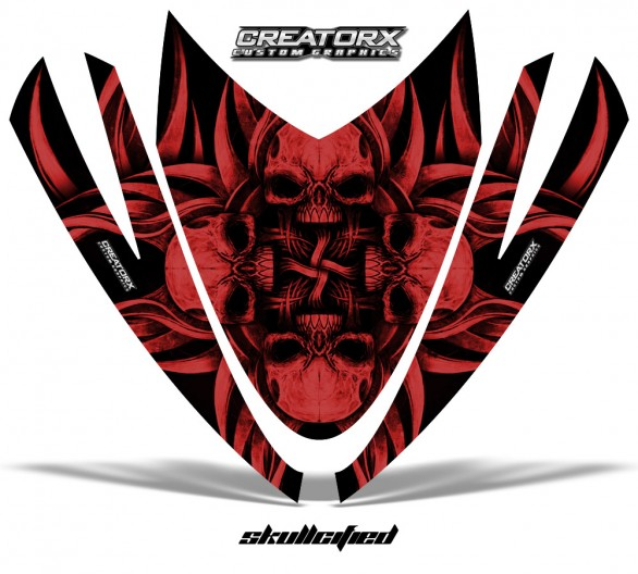 Arctic-Cat-M-Series-Crossfire-Hood-CreatorX-Graphics-Kit-Skullcified-Flat-Red