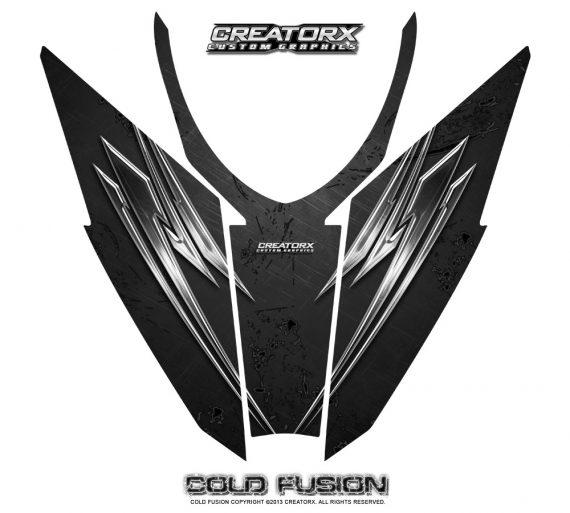 Arctic Cat Pro Climb Cross 2012 Hood CreatorX Graphics Kit Cold Fusion Black 570x513 - Arctic Cat ProClimb ProCross SnoPro 2012-2016 Hood Graphics