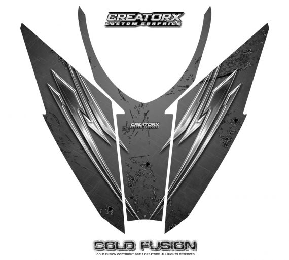 Arctic Cat Pro Climb Cross 2012 Hood CreatorX Graphics Kit Cold Fusion Silver 570x513 - Arctic Cat ProClimb ProCross SnoPro 2012-2016 Hood Graphics