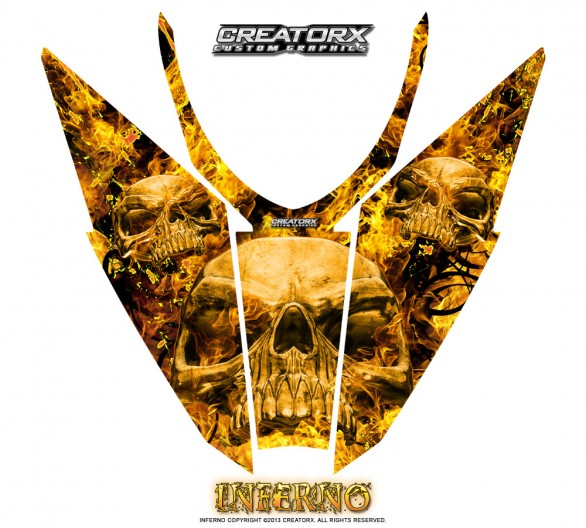 Arctic-Cat-Pro-Climb-Cross-2012-Hood-CreatorX-Graphics-Kit-Inferno-Yellow