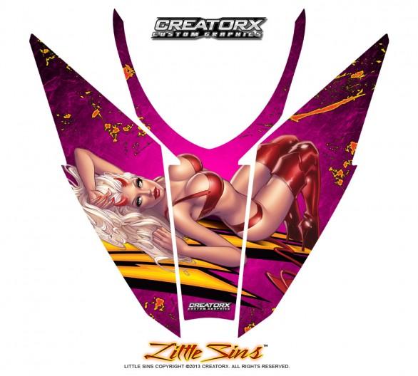Arctic-Cat-Pro-Climb-Cross-2012-Hood-CreatorX-Graphics-Kit-Little-Sins-Pink