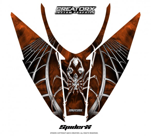 Arctic-Cat-Pro-Climb-Cross-2012-Hood-CreatorX-Graphics-Kit-SpiderX_Orange_Dark