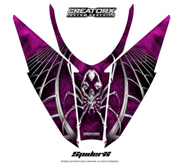 Arctic-Cat-Pro-Climb-Cross-2012-Hood-CreatorX-Graphics-Kit-SpiderX_Pink