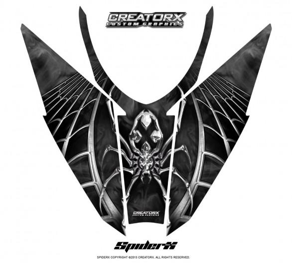 Arctic-Cat-Pro-Climb-Cross-2012-Hood-CreatorX-Graphics-Kit-SpiderX_Silver