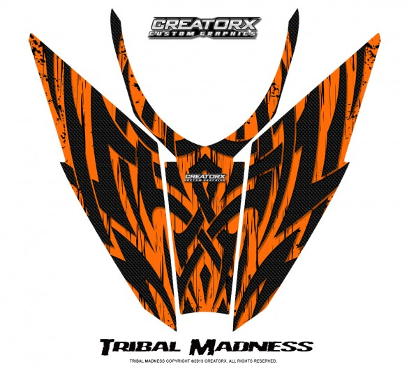Arctic-Cat-Pro-Climb-Cross-2012-Hood-CreatorX-Graphics-Kit-Tribal-Madness-Orange