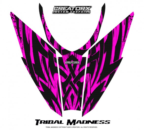 Arctic-Cat-Pro-Climb-Cross-2012-Hood-CreatorX-Graphics-Kit-Tribal-Madness-Pink