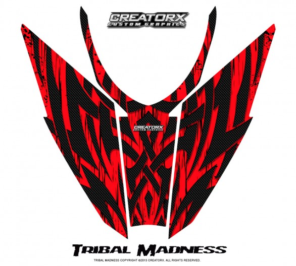 Arctic-Cat-Pro-Climb-Cross-2012-Hood-CreatorX-Graphics-Kit-Tribal-Madness-Red