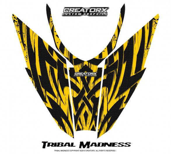Arctic-Cat-Pro-Climb-Cross-2012-Hood-CreatorX-Graphics-Kit-Tribal-Madness-Yellow