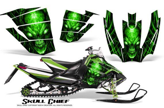 Arctic-Cat-SnoPro-Race-CreatorX-Graphics-Kit-Skull-Chief-Green