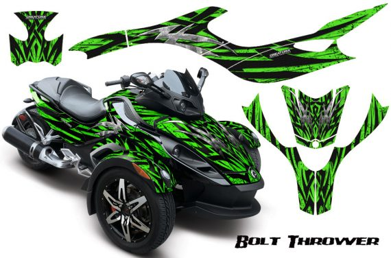 CAN AM SPYDER CreatorX Graphics Kit Bolt Thrower Green 570x376 - Can-Am Spyder RS GS Graphics
