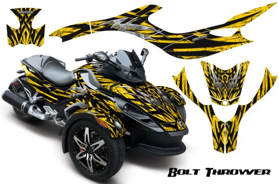 CAN AM SPYDER CreatorX Graphics Kit Bolt Thrower Yellow 570x376 - Can-Am Spyder RS GS Graphics