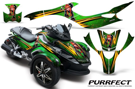 CAN AM SPYDER CreatorX Graphics Kit Purrfect Green 570x376 - Can-Am Spyder RS GS Graphics