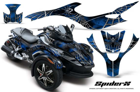 CAN AM SPYDER CreatorX Graphics Kit SpiderX Blue 570x376 - Can-Am Spyder RS GS Graphics