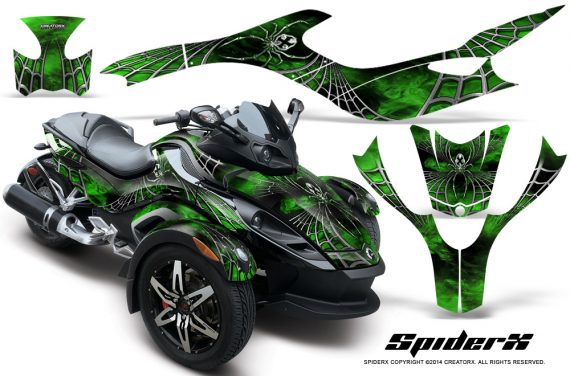 CAN AM SPYDER CreatorX Graphics Kit SpiderX Green 570x376 - Can-Am Spyder RS GS Graphics