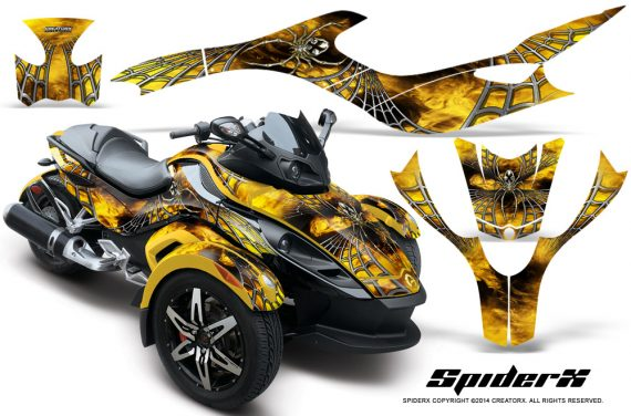 CAN AM SPYDER CreatorX Graphics Kit SpiderX Yellow YB 570x376 - Can-Am Spyder RS GS Graphics