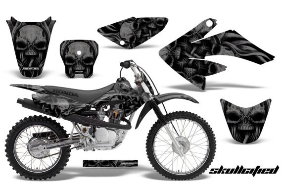 CRF 70 80 100 Graphics Kit Skullcified Black 570x376 - Honda CRF70 2004-2015 Graphics