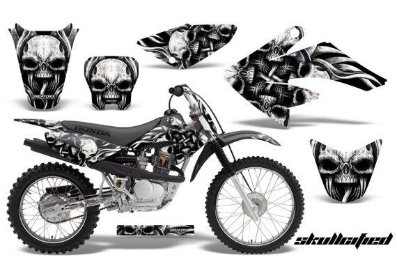 CRF 70 80 100 Graphics Kit Skullcified Silver Black 570x376 - Honda CRF70 2004-2015 Graphics