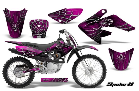 CRF 70 80 100 Graphics Kit SpiderX Pink 570x376 - Honda CRF70 2004-2015 Graphics